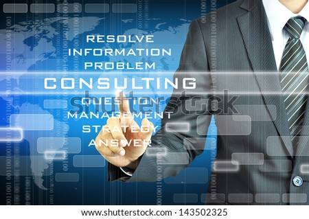 Businessman touching CONSULTING sign - stock photo