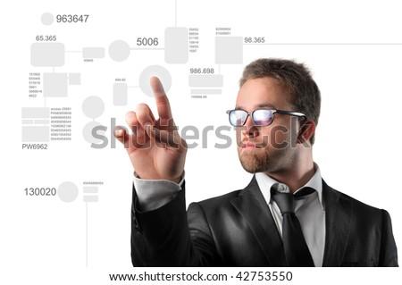 businessman touching digital interface - stock photo