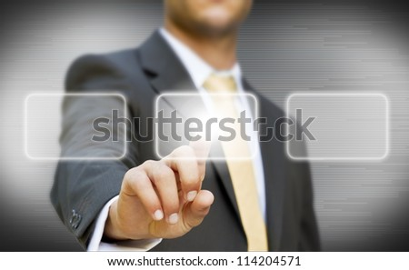 Businessman touching digital screen concept