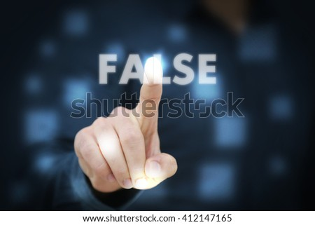 Businessman touching False