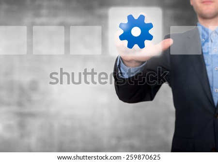 Businessman Touching Gear Button and Ticking Check Box. Grey - Stock Photo - stock photo