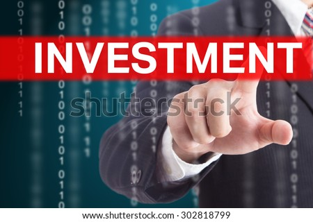 Businessman touching investment sign for control and management your company. - stock photo