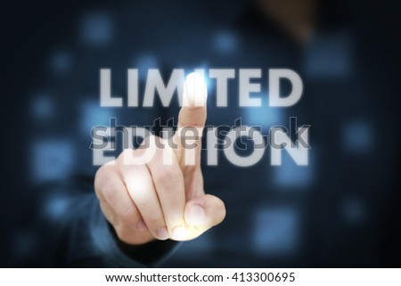 Businessman touching limited edition - stock photo