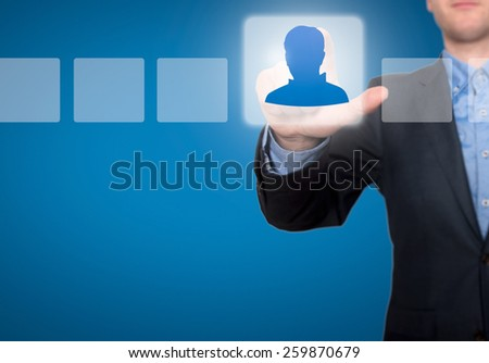 Businessman Touching Profile Button and Ticking Check Box - stock photo
