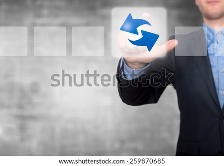 Businessman Touching Refresh Button and Ticking Check Box. Grey - Stock Photo - stock photo