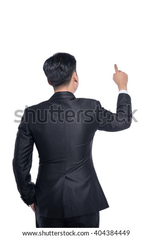 Businessman touching screen gesture - stock photo