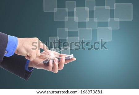 Businessman touching smart phone for order something in studio