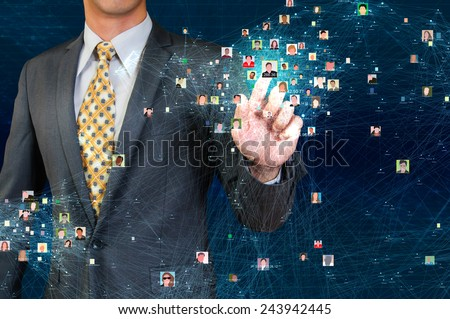 businessman touching social network visualization