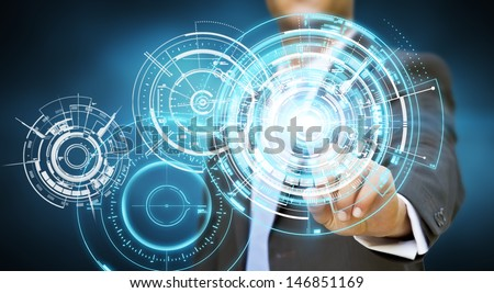 Businessman touching tactile screen - stock photo