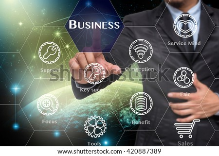 Businessman touching the Business icon with business success tools on Internet network concept background,Elements of this image furnished by NASA, Business technology concept  - stock photo