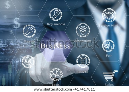Businessman touching the Business icon with business success tools on Trading graph on the cityscape at night background, Business technology concept  - stock photo
