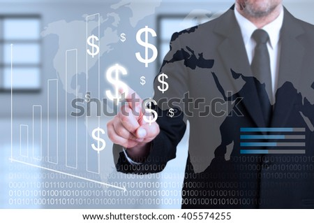 Businessman touching transparent digital screen as curency transactions concept based on dollar symbol - stock photo