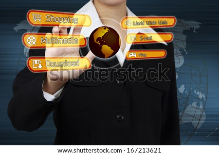 Businessman touching virtual screen on a Links Shopping, Multimedia, Email, Download, World Wide Web. Concept of business technology. - stock photo