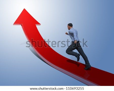 Businessman towards arrow pointing up direction overcome of economy recession concept 3d illustration - stock photo