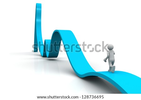 Businessman towards pointing up arrow direction 3d illustration