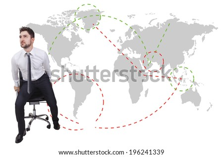 businessman traveler with chair on a map background  - stock photo