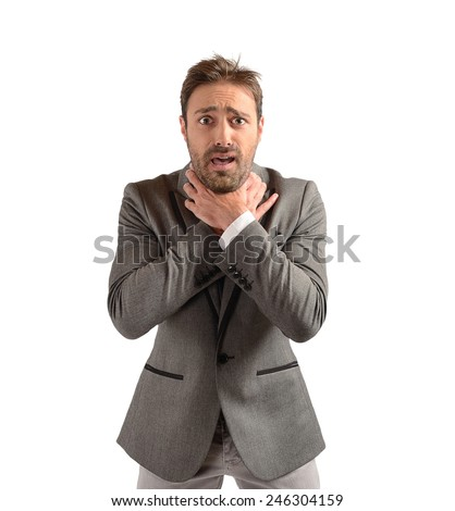 Businessman tries to strangle himself to despair - stock photo