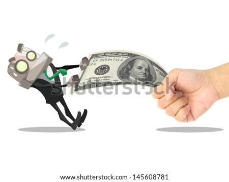 businessman try to take money from other hand