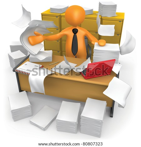 Businessman trying to make some space on his messy office. - stock photo