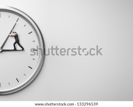 Businessman trying to stop time and place for text - stock photo