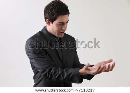Businessman two hand held open - stock photo