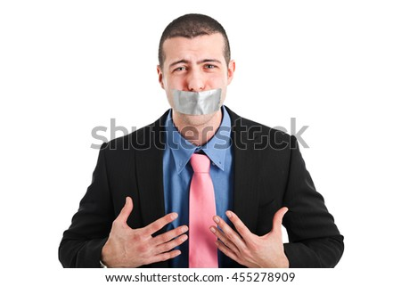 Businessman unable to talk - stock photo