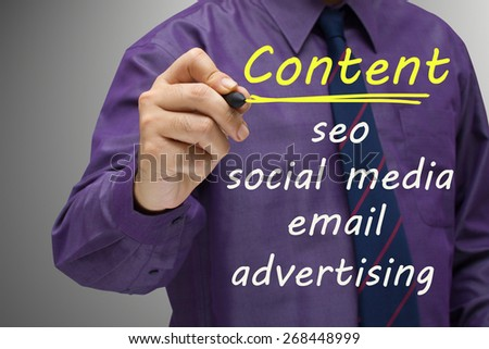 Businessman underline Content word, online marketing concept - stock photo