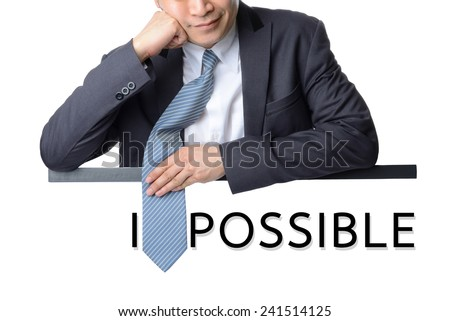 "businessman use necktie cover ""M"" letter transformed word impossible into possible,Motivation concept - stock photo"