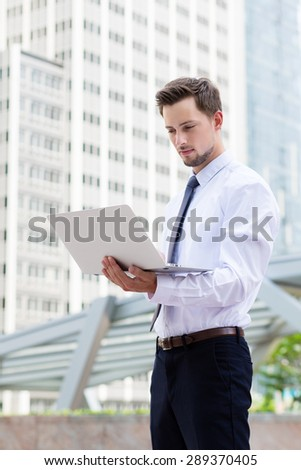 Businessman use of laptop computer