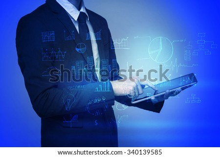 businessman use tablet with social network as concept