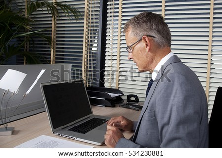 businessman uses new technologies