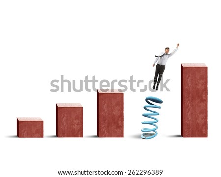 Businessman uses the spring to get statistics - stock photo