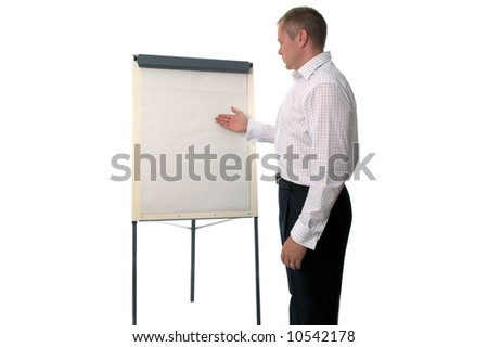 Businessman using a flip chart for a presentation, the paper is blank for you to add your own text.