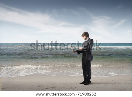 Businessman using a laptop at the seaside - stock photo