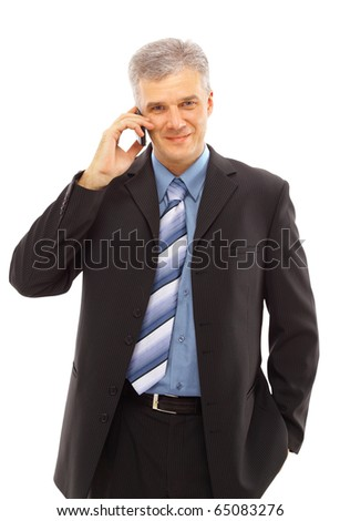 businessman using a lphone against white background - stock photo