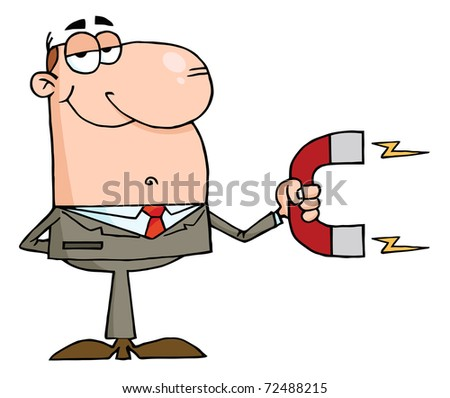 Businessman Using A Magnet - stock photo