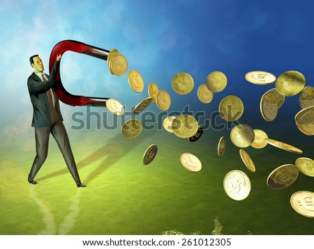 Businessman using a magnet to attract coins. Digital illustration. - stock photo