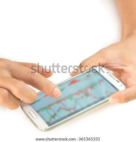 businessman using a mobile device to check stocks and market data isolate on white background (Blur data and graph in smartphone)