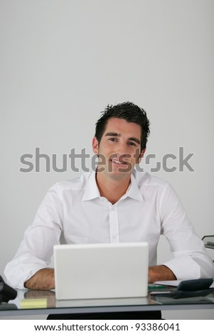 Businessman using a netbook