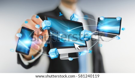 Businessman using a pen to connect devices with each other 3D rendering