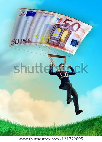 Businessman using an euro bill as a parachute. Digital illustration. - stock photo