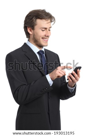 Businessman using and looking the smart phone on a white background - stock photo