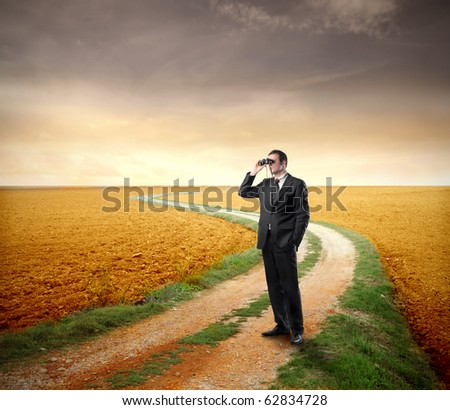 Businessman using binoculars in the country - stock photo