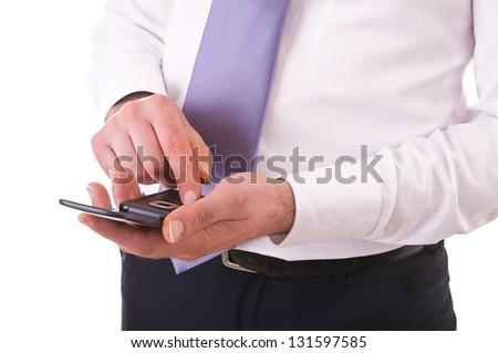 Businessman using cellphone. - stock photo