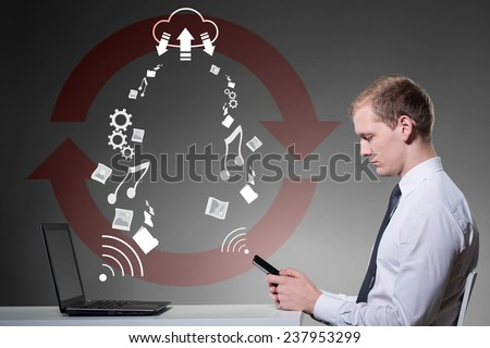 Businessman using cloud service to hosting datas - stock photo