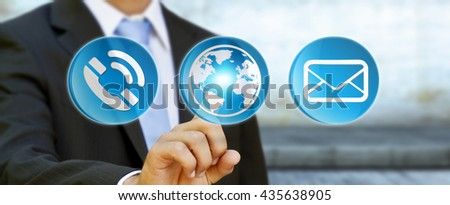 Businessman using contact and email application '3D rendering'