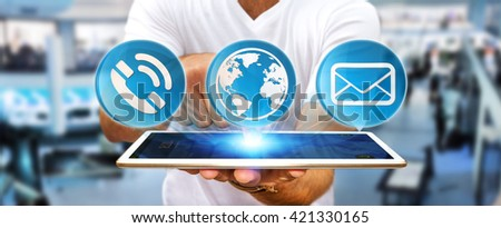 Businessman using contact and email application with his phone '3D rendering' - stock photo
