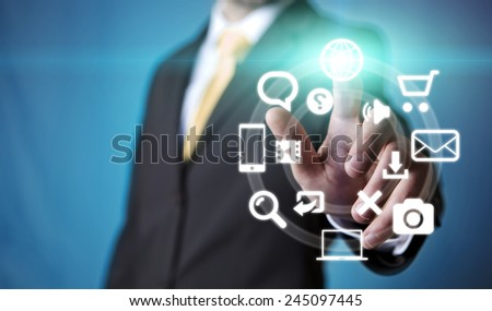 Businessman using digital screen interface to communicate