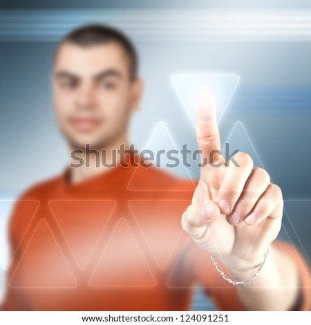 Businessman using futuristic interface, digital concept - stock photo