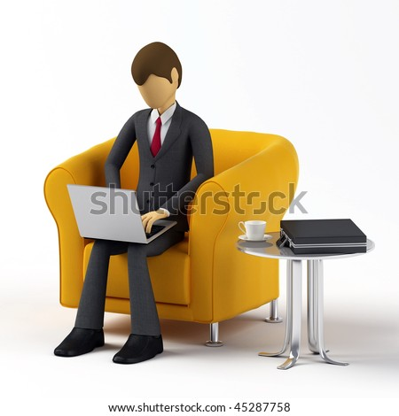 Businessman using laptop to do his work or accessing the internet in more relax situation.